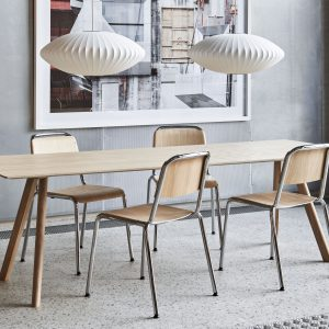 Halftime chromed base matt lacquered oak_CPH30 matt lacquered oak_Bubble Lamp Saucer M